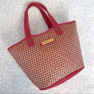 Woven Straw Bag Red Mini Tote Kenneth Cole